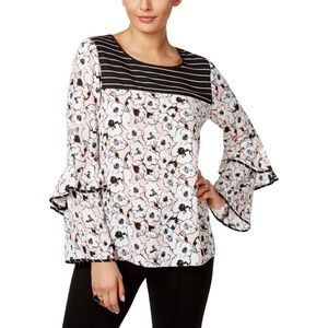 New Mixed Print Floral Striped Long Sleeve Blouse